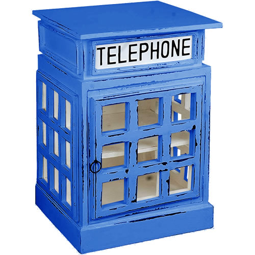 White British Phone Booth End Table painted Blue