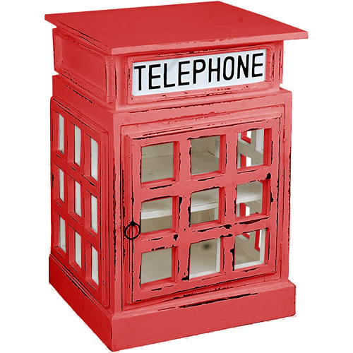 White British Phone Booth End Table painted Red