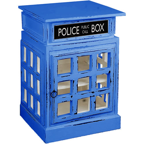 White British Phone Booth End Table painted Tardis Blue