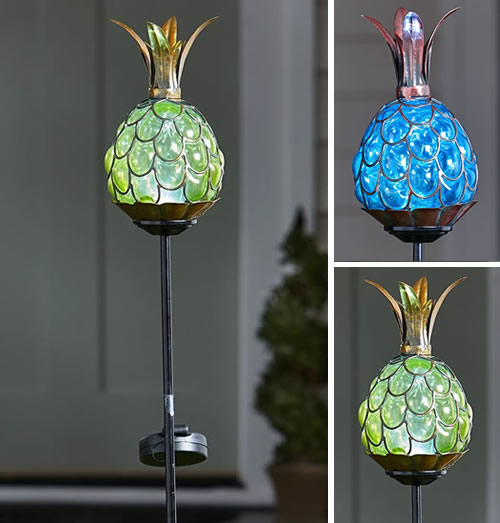 Lakeside Collection Solar Lighted Pineapple Stake Lights