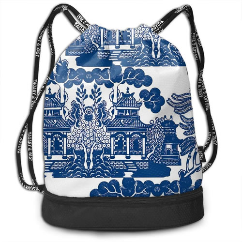 Agary & Asy Blue Willow Drawstring Backpack