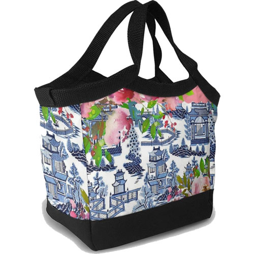 Pink Roses and Blue Willow Pattern Tote Lunchbox