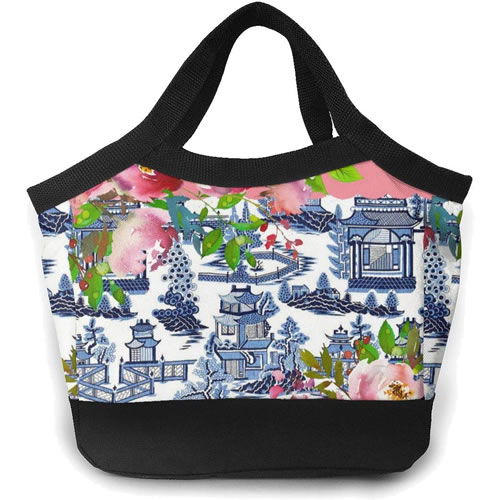 Pink Roses and Blue Willow Pattern Tote Lunch Cooler