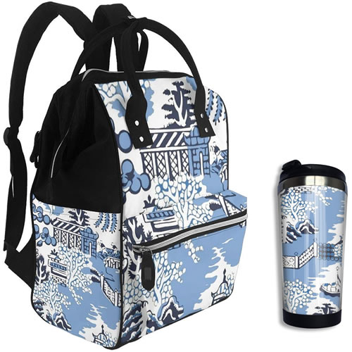 Winter Blue Willow Back Pack Lunch Box and Winter Blue Willow Vacuum Car Cup