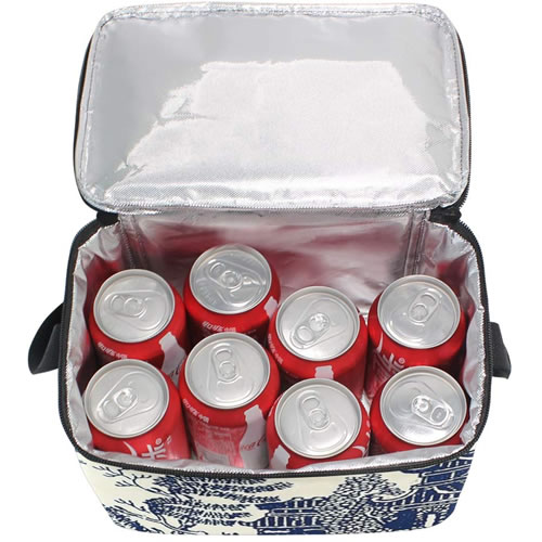 The Traditional Blue Willow Lunch Box is big enough to hold 8 cans of soda.