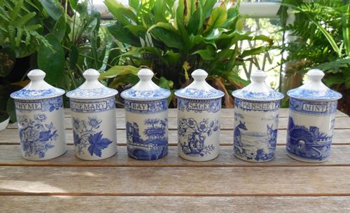 Set Of Six Spode Blue Room Collection Spice Herb Jars from eBay