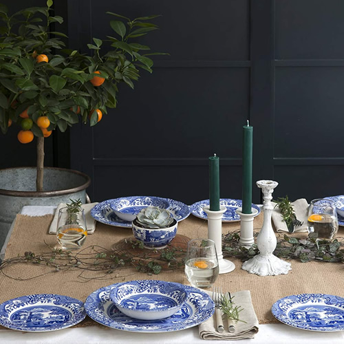 A table set with Spode Blue Room pieces