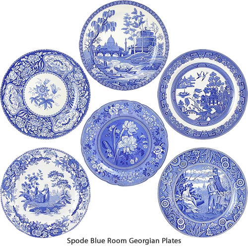 Spode Botanical, Floral, Girl at Well, Rome, Willow and Woodman Blue Room Georgian Plates Collection