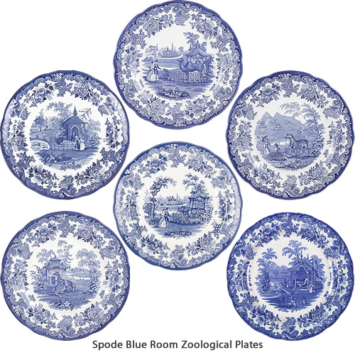Spode Rhinoceros, Kangaroo, Camel, Tiger, Zebra and Ostrich Blue Room Zoological Plates