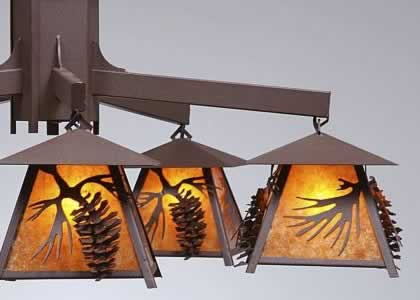 Avalanche Ranch M41540 Smokey Mountain 5-Light Spruce Pine Cone Chandelier shown with amber mica diffusers