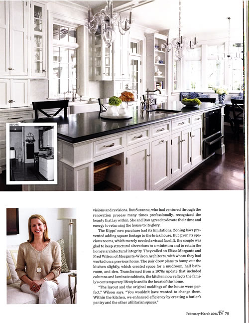 """Enhanced by a pair of elegant crystal chandeliers, the all white kitchen exudes glamour."" Traditional Home February March 2014"
