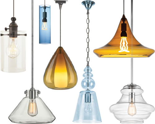 Glass Pendants in cased or blown glass. Suspended from chain, cable or rods these pendants coordinate with a variety of interior styles. Similar to mini pendants, but larger.