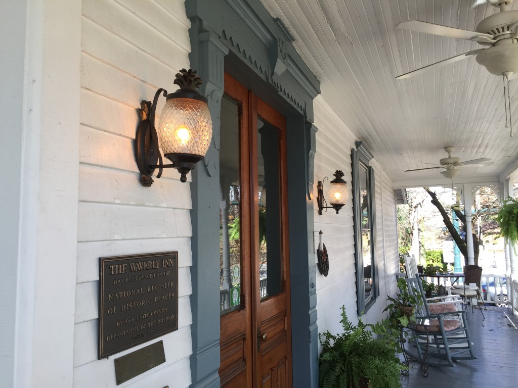 Pineapple lights welcome guests to 1898 Waverly Inn, a historic inn in Hendersonville, NC.