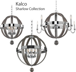 Kalco Sharlow Collection: This unique twist on Mid Century Modern combines a Chrome Plated Frame with Solid Wood Finished Bands and Accents.