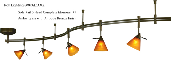 Tech Lighting 800RAL5AMZ Sola Rail 5-Head Complete Monorail Kit - Amber glass with Antique Bronze finish