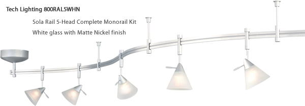 Tech Lighting 800RAL5WHN Sola Rail 5-Head Complete Monorail Kit - White glass with Matte Nickel finish