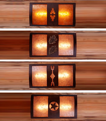 Avalanche Ranch Benton Sconce Curved back - easy to mount horizontally or vertically on a log pole or a flat wall.