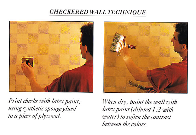 Painted Checkered Wall Technique