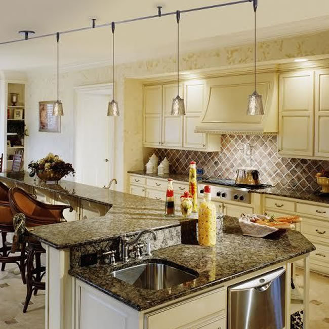 Besa Nico 4 Monorail Pendants in a traditional kitchen.