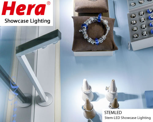 Hera's new Stem-LED is an adjustable stem light you mount to a surface direct light wherever you want in a merchandise showcase. It uses only 5 W of LEDs, but has an extremely high and even light output. Perfect to bring out the sparkle in your jewelry cases.