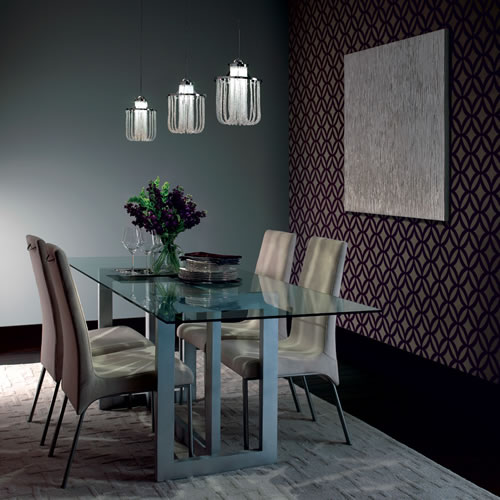 Dining Room with Three WAC Cascade G332 Crystal Pendants