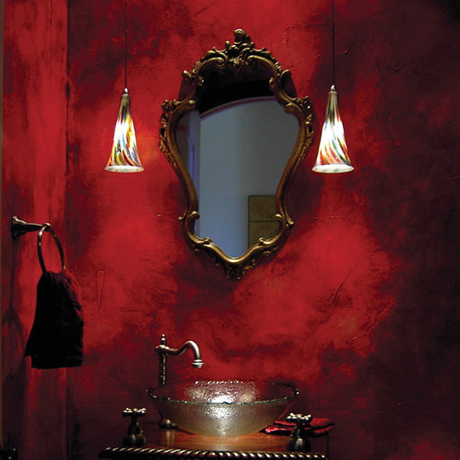 Exotic bath with two WAC G614 Passion European Pendants with Millefiori glass hand crafted in Italy on either side of a Rococo mirror. Red Italian plaster wall. Blown glass basin.