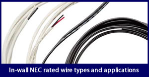 In-wall NEC rated wire types and applications