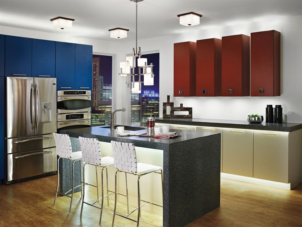 Fun Colorful Kitchen with Kichler 42940CLP City Lights Chandelier