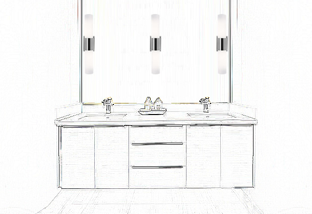 Mount Access 50567-BS/OPL Aqueous Wall Fixtures vertically on the bath mirror for lighting that is flattering for applying makeup.