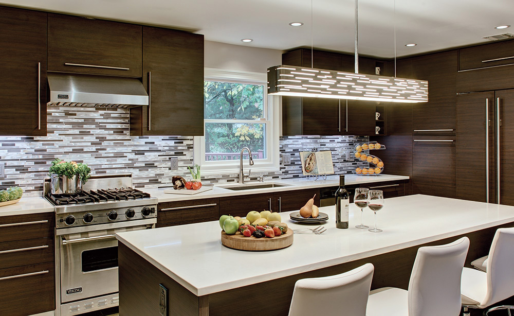 Contemporary Kitchen with Tech Lighting 700LSRVL Revel Linear Pendant suspended over bar