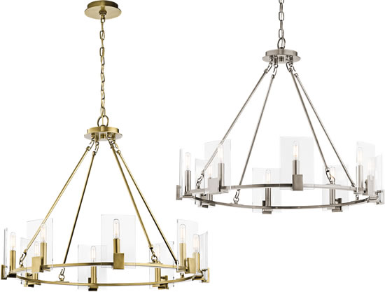 Kichler 43702 8-Light Chandelier from the Signata Collection in Classic Pewter or Natural Brass