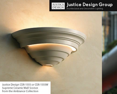 Justice Design CER-1555, CER-1555W, Supreme Ceramic Wall Sconce from the Ambiance Collection