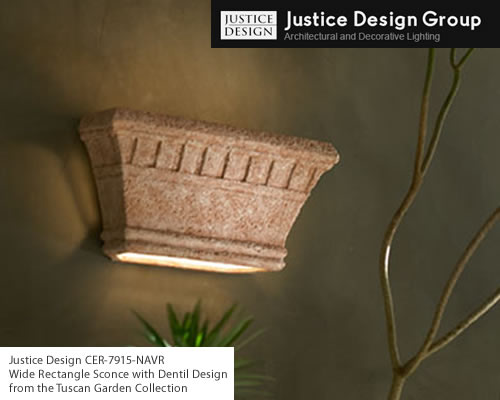 Justice Design CER-7915 or CER-7915W rated for wet location Wide Rectangle Sconce with Dentil Design from the Tuscan Garden Collection Hand-Cast and Hand-Finished Ceramic: Justice Design Group's ceramic collection features hand-cast, hand-textured and hand-finished ceramic fixtures which can create a mood, complement a theme, or simply add the perfect accent. Sconces shown on this page are available rated for indoor or outdoor damp location use.