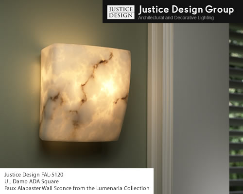 Justice Design FAL-5120 UL Damp ADA Square Faux Alabaster Wall Sconce from the Lumenaria Collection