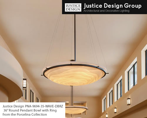 PNA-9694-35-WAVE-DBRZ Round Bowl Pendant with Ring Suspension