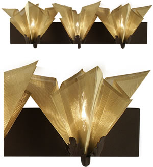 Fire Farm 19-V Star Vanity Light with Brass Shade, Rust Base - Light sparkles through the hand pleated folds of our Star vanity sconce.