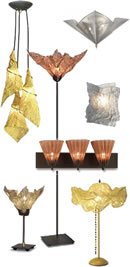Fire Farm Mesh Collections; Ariel, Aurora, Cone, Crucible, Flute, Femme Fatale, Hazel, Jak, Little Sis, Mani, Splat, Square, Star and Maypole are innovative lighting that incorporate wire-mesh to create integrally lit light sculptures.