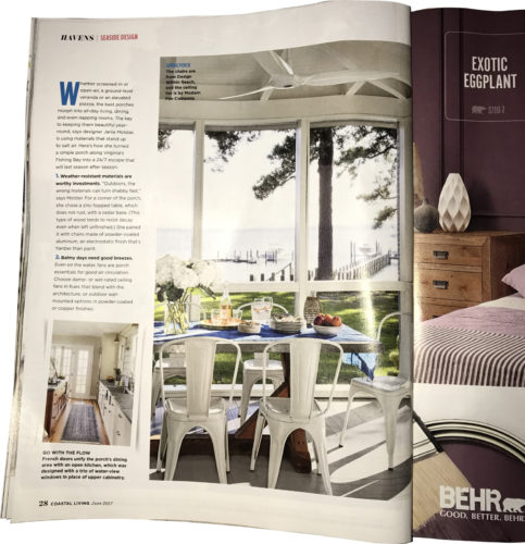 The article Havens l Seaside Design in Coastal Living's June 2017 issue shares designer Janie Molster's secrets for outfitting a porch.