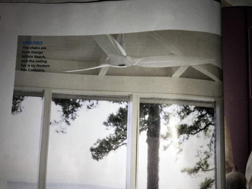 The photo in Coastal Living's June 2017 issue looks like the new IC/Air3 Ceiling Fan, designed by Guto Indio da Costa.