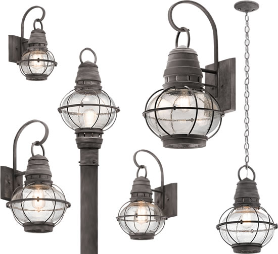 Kichler's Bridge Point collection embodies the classic styling of nautical and railway lighting. It features a Weathered Zinc finish surrounding Clear Seeded glass. The collection includes a pendant, post light and wall brackets in four sizes.