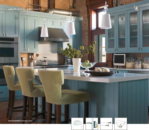 Kitchen with Tech Lighting Kable K-Bye Bye heads and Kiev pendants