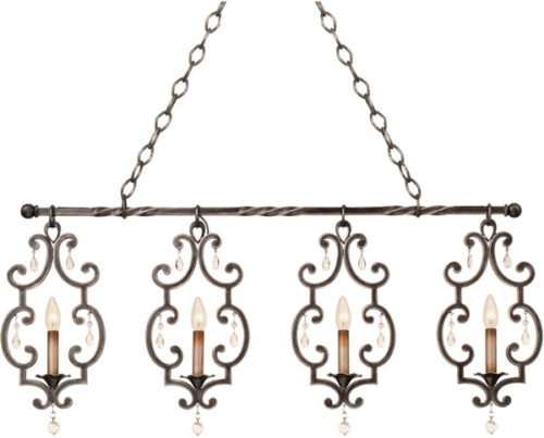 French Country Style - Kalco 2635AC, 2635VI 4 Light Island Chandelier from the Montgomery Collection