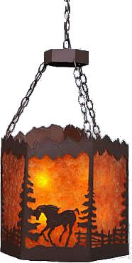 Avalanche Ranch M40435 Running Horses and Mountains Teton Hex Foyer Pendant - Handmade In USA