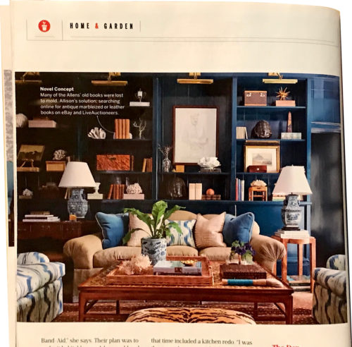 The library has two blue and white lamps. and a plant in a blue and white pot - Southern Living January 2018, article by Elizabeth Passarella with photographs by Hector Manuel Sanchez.