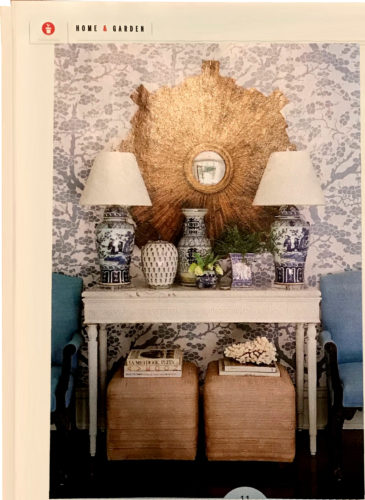 The entry has two blue and white lamps with a collection of coordinating blue transferware - Southern Living January 2018, article by Elizabeth Passarella with photographs by Hector Manuel Sanchez.