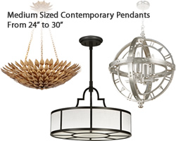 "Mid Sized Contemporary Pendants (24"" to 30"")"