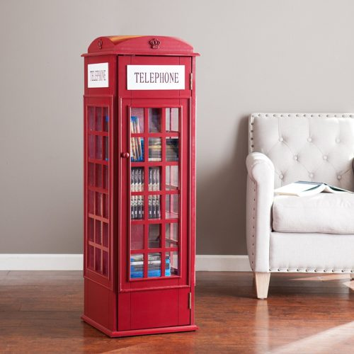 Harper Blvd OS1367ZH or Southern Enterprises AMZ1367ZH Red Phone Booth Storage Cabinet