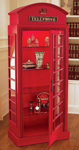 Design Toscano NE36832 6' British Telephone Booth Lighted Display Cabinet