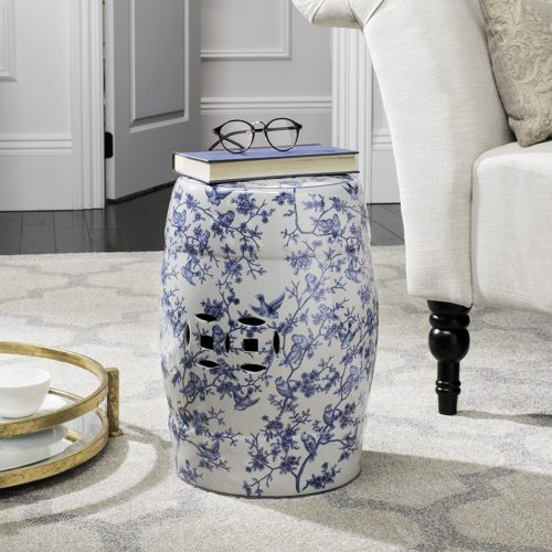 Safavieh Castle Gardens Collection Glazed Ceramic Blue Birds Garden Stool