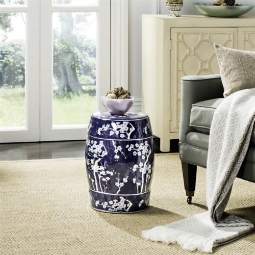 Safavieh Castle Gardens Collection Glazed Ceramic Dark Blue Midnight Kiss Garden Stool